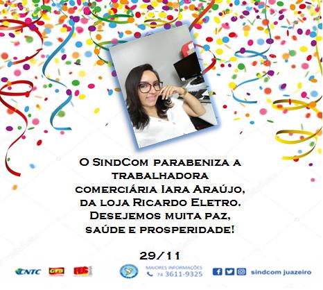 Parabéns a nossa comerciária associada, Iara Araújo!